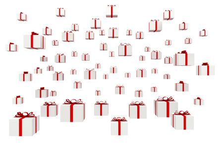Many gifts isolated on white background Stock Photo