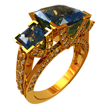 Gold ring with topaz ??and diamonds Stock Photo