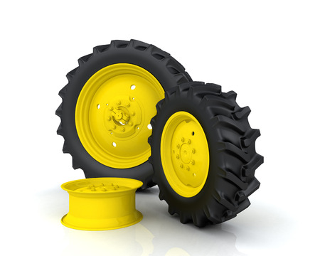 Tractor wheel on a white background