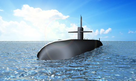Atomic submarine in the ocean 版權商用圖片