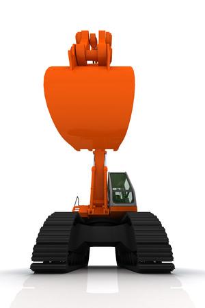 Orange excavator on a white background