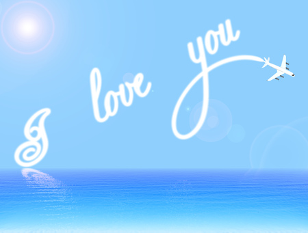 love declaration: Declaration of love over the sea