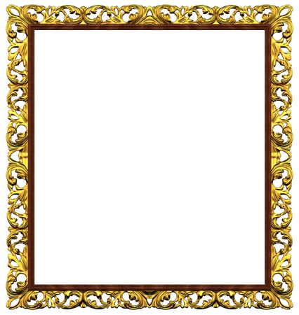 Golden frame for pictures isolated on white background