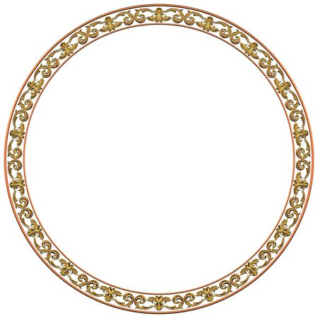 Round gold frame on a white background