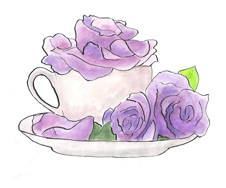 Violeta rosas en blanco taza photo