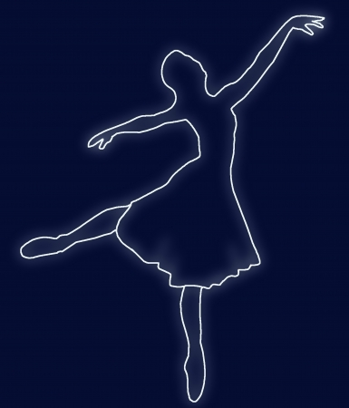 silhouette of dancing ballerina on dark-blue background Stock Photo - 18809617