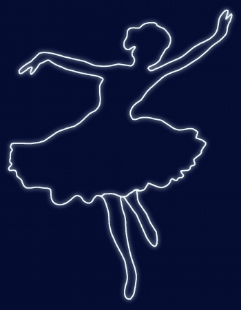 silhouette of dancing ballerina on dark-blue background