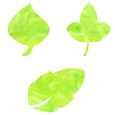 Three leaves patterns painted in watercolor Stock Photo