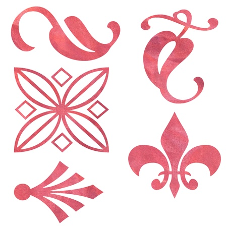 five red book patterns painted in watercolor Stock Photo - 18809630