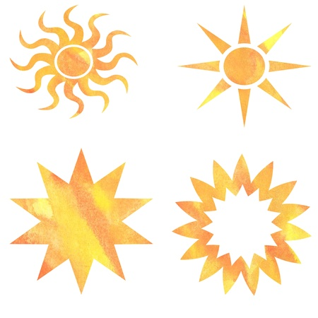 four sun patterns painted in watercolor Stock Photo - 18809620