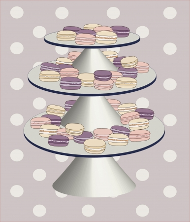 dessert stand: An illustration of plate with macaroons made in vintage style