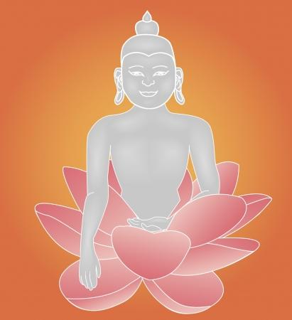 buddha lotus: An illustration of Buddha statue sitting in lotus pose