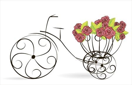 illustratie van een fiets met een mand van rozen Stock Illustratie