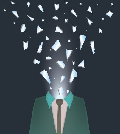 nervousness: abstract illustration of a man exploding with rage and nervousness