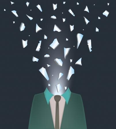 abstracte illustratie van een man exploderende met woede en nervositeit