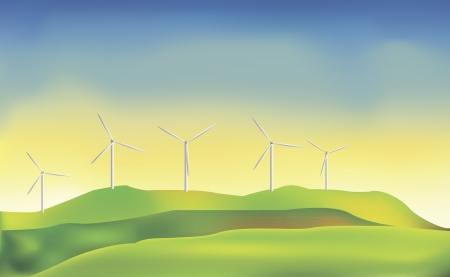 An illustration of energy-producing windmills against blue sky