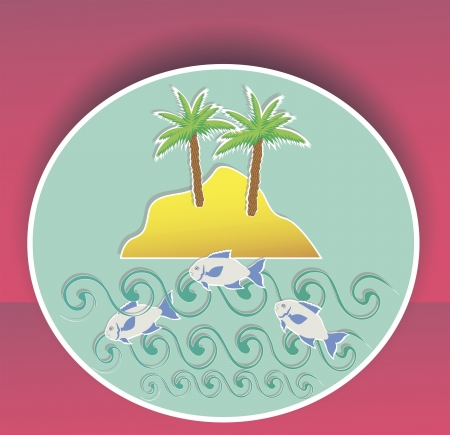 Illustration of the summer holiday on the island in the ocean in applique style