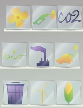set of glass icons connected with bio energy Vector