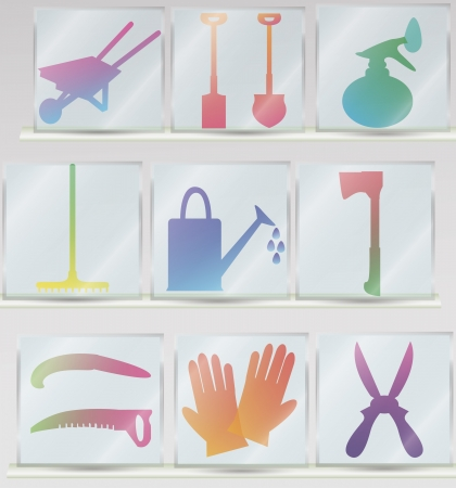 set of glass icons of garden tools including ax, scissors, shovel, saw, gloves, watering can, sprayer Vector