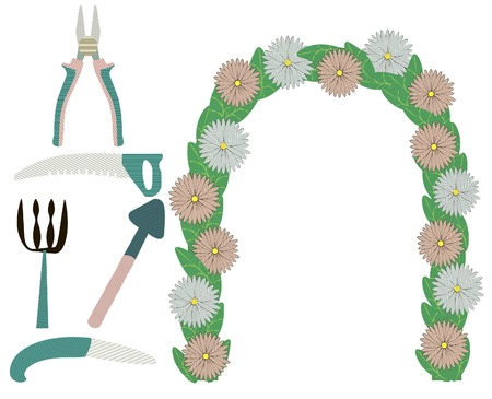 pruning: set of garden accessories and floral arch Illustration