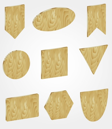 Set of wooden banners in form of square, rectangle, triangle, circle, ellipse and triangle