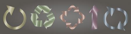Illustration of glassy symbols describing recycling circulation process and arrow Stock Vector - 18983986