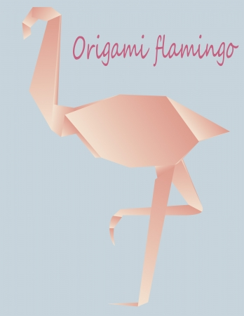 illustration of origami in form if rose flamingo