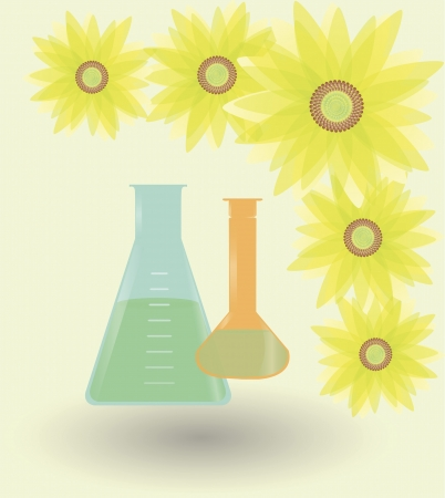 An illustration of two bulbs full of fuel made of sunflowers