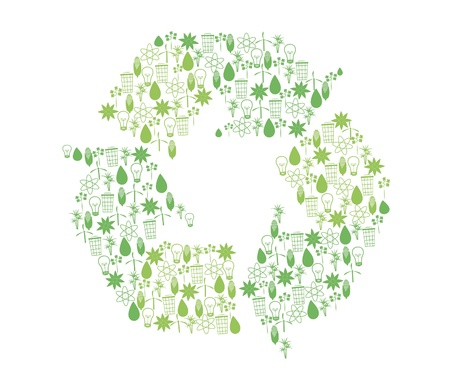 Set of icons related to bioenergy in form of recycle symbol Vector
