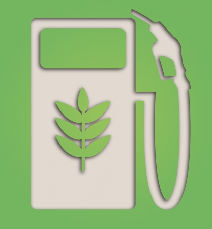 biodiesel: illustration of paper cut out biofuel pump