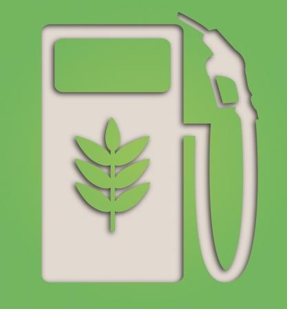 biofuel: illustration of paper cut out biofuel pump