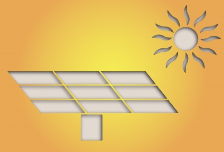 illustration of paper cut out solar panel