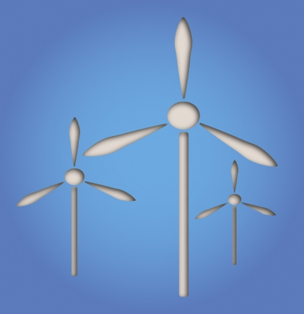 illustration of paper cut out windmill, producing energy Illustration