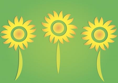 Illustration of three paper sunflowers