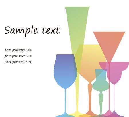 Reclame banners waaronder verschillende gekleurde glazen voor wijn en cocktails Stock Illustratie