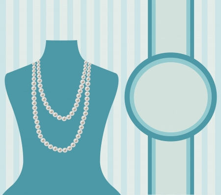 jewelry design: Vector illustration with manikin and pearl beads which can be used as banner, card or invitation Illustration
