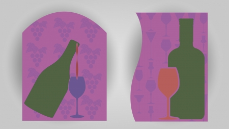 Two vector banners bottles and glasses on grape and glass patterns  Illustration