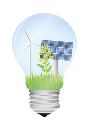 sola: vector illustration of light bulb with wind mill, colza flower and solar panel in it
