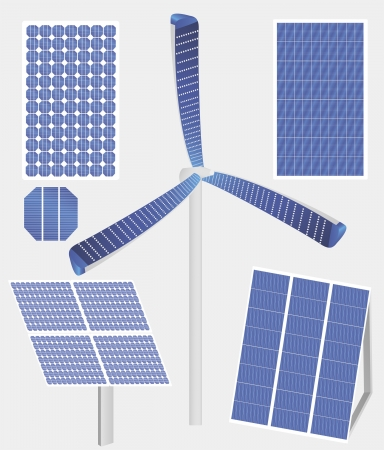 Vector illustration of different types of solar panels, including the new one – wind mill with solar panel