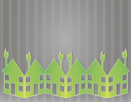 Vector background with green paper houses on the bottom Vector