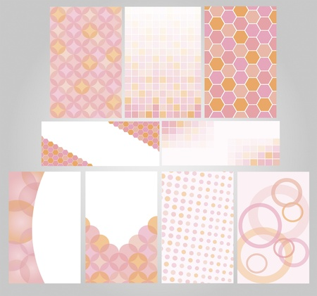 set banners decorated with geometric figures in rose tones