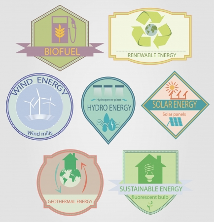 set of labels relating to ecology theme, including wind power, geothermal, renewable, solar, hydro energy Vector