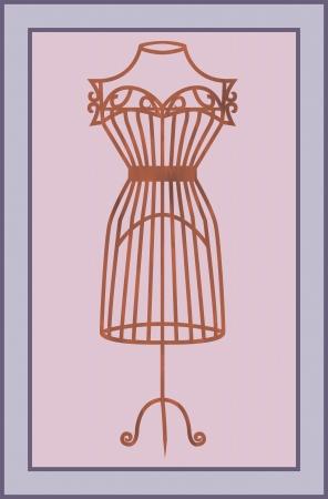 wooden mannequin: illustration of vintage card with wooden mannequin  Illustration