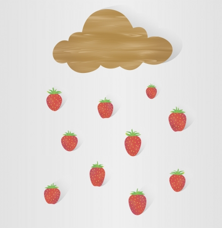 illustration of wooden cloud, which can be used as banner, and strawberry rain Stock Vector - 20722040