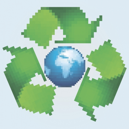 vector illustration of pixel symbol  of recycling symbol and Earth