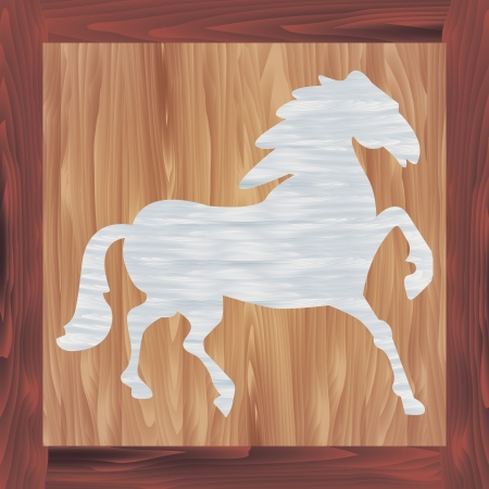 Vector illustration of wooden picture of blue horse Stock Vector - 20886341