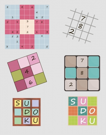 Set of vector illustrations of Sudoku game including icon Illustration
