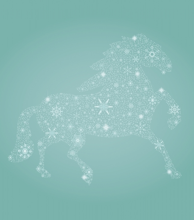 year of horse: Vector illustration of New Year symbol – blue horse
