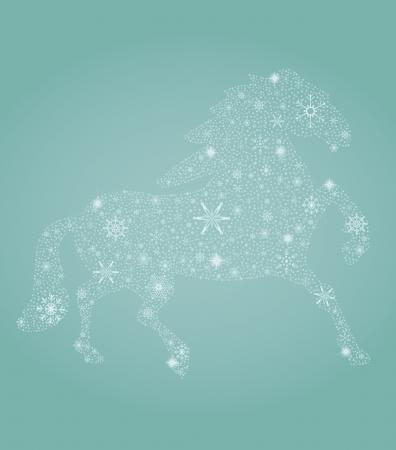 Vector illustration of New Year symbol – blue horse Illustration