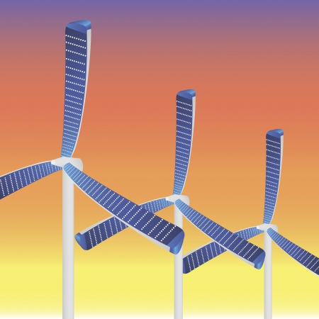 Vector illustration of three new type wind mills with solar panels